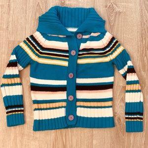 🍄Retro Vtg Cardigan Striped Sweater Big Buttons